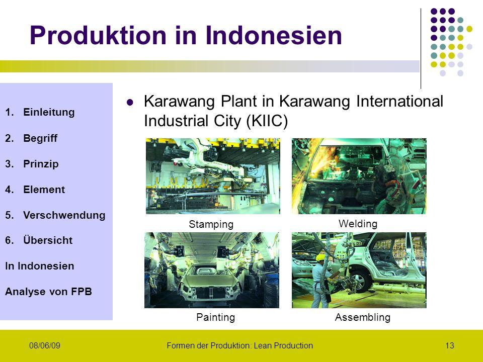 1.Einleitung 2.Begriff 3.Prinzip 4.Element 5.Verschwendung 6.Übersicht In Indonesien Analyse von FPB 08/06/09Formen der Produktion: Lean Production13