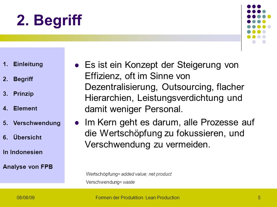 1.Einleitung 2.Begriff 3.Prinzip 4.Element 5.Verschwendung 6.Übersicht In Indonesien Analyse von FPB 08/06/09Formen der Produktion: Lean Production6 Lean Production (nach Koschinski, S.