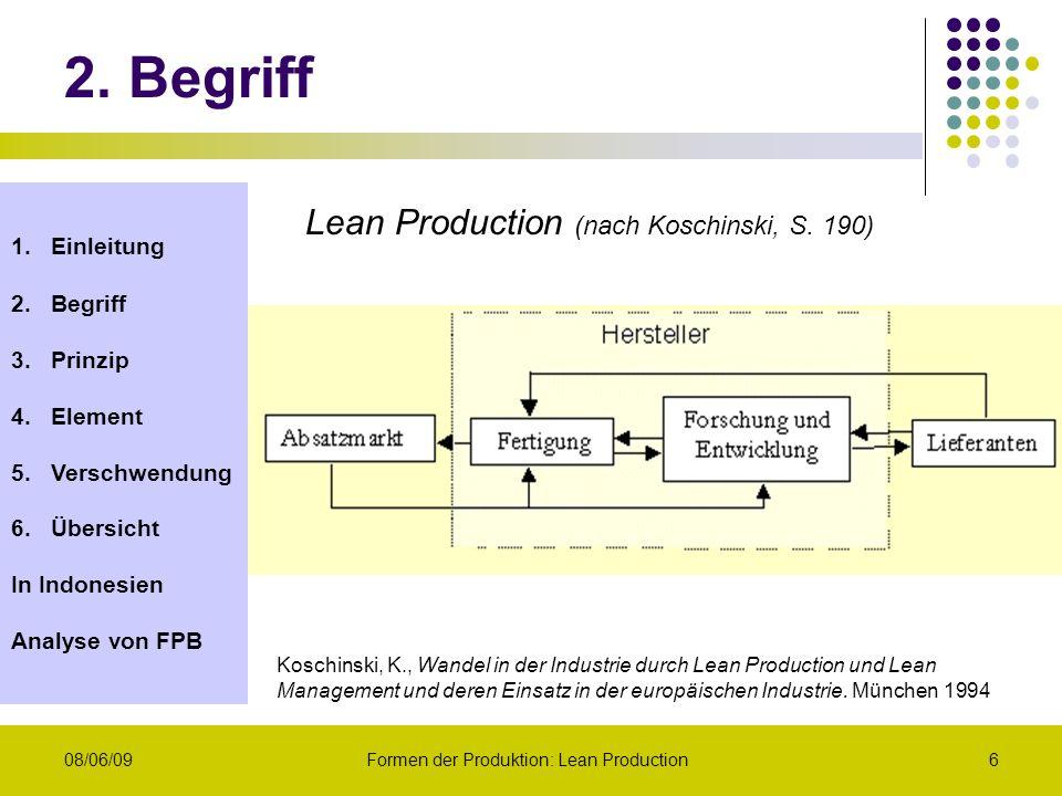 1.Einleitung 2.Begriff 3.Prinzip 4.Element 5.Verschwendung 6.Übersicht In Indonesien Analyse von FPB 08/06/09Formen der Produktion: Lean Production6 L