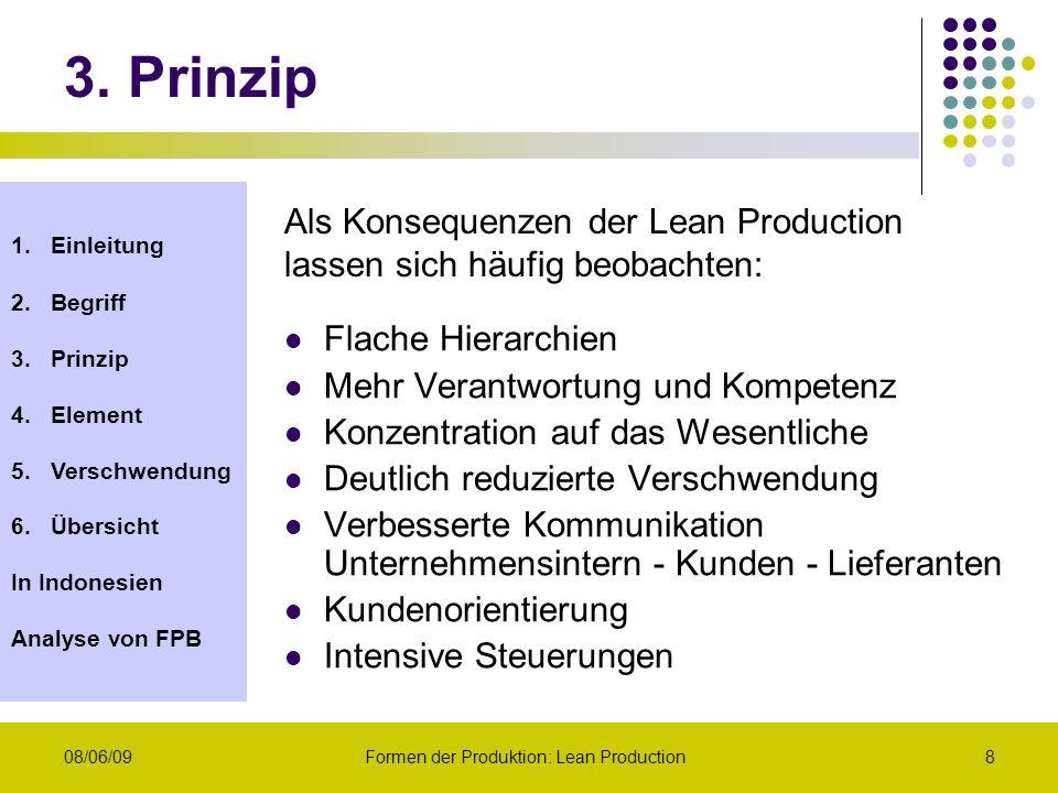 1.Einleitung 2.Begriff 3.Prinzip 4.Element 5.Verschwendung 6.Übersicht In Indonesien Analyse von FPB 08/06/09Formen der Produktion: Lean Production8 F