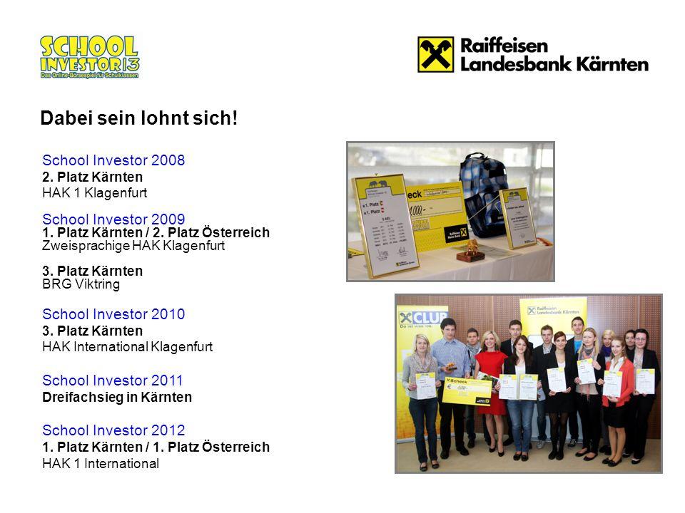 School Investor 2008 2. Platz Kärnten HAK 1 Klagenfurt School Investor 2009 1. Platz Kärnten / 2. Platz Österreich Zweisprachige HAK Klagenfurt 3. Pla