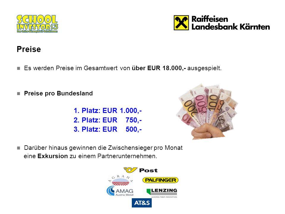 Es werden Preise im Gesamtwert von über EUR 18.000,- ausgespielt. Preise pro Bundesland 1. Platz: EUR 1.000,- 2. Platz: EUR 750,- 3. Platz: EUR 500,-