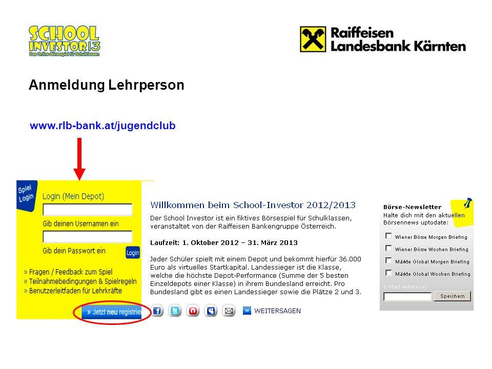 www.rlb-bank.at/jugendclub Anmeldung Lehrperson