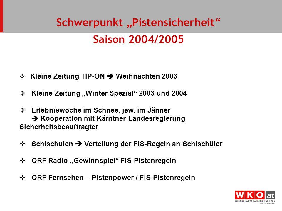 Schwerpunkt Pistensicherheit Saison 2004/2005 Kleine Zeitung TIP-ON Weihnachten 2003 Kleine Zeitung Winter Spezial 2003 und 2004 Erlebniswoche im Schn