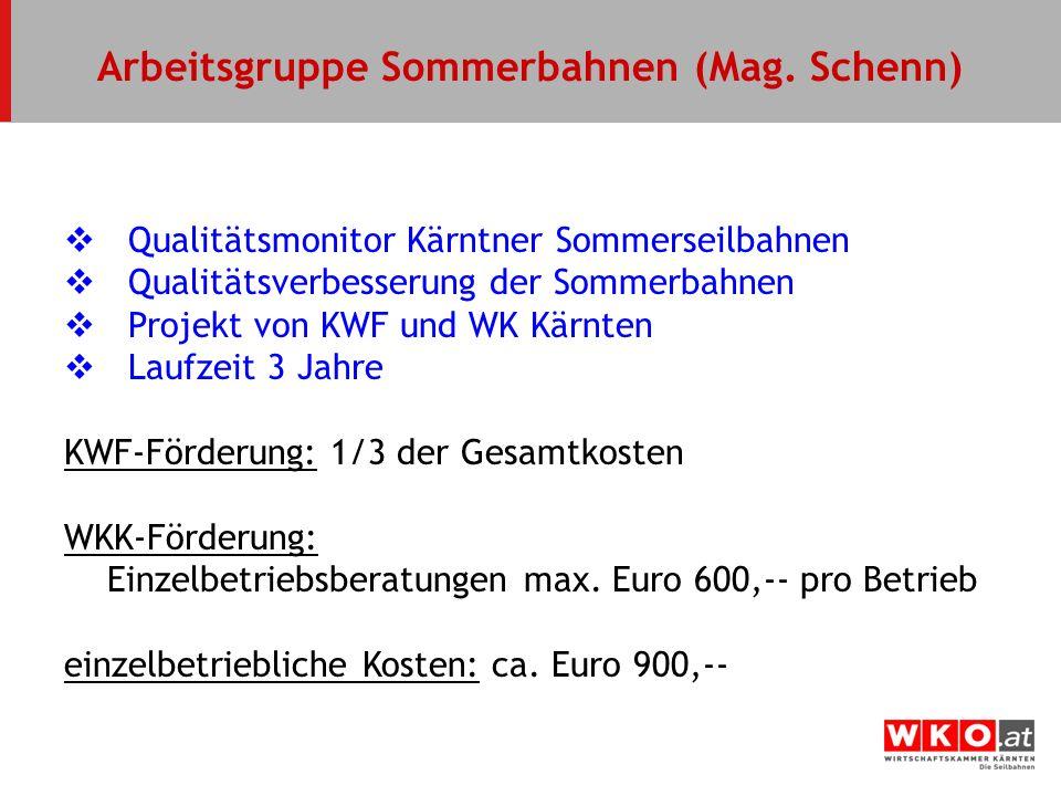 Qualitätsmonitor Kärntner Sommerseilbahnen Qualitätsverbesserung der Sommerbahnen Projekt von KWF und WK Kärnten Laufzeit 3 Jahre KWF-Förderung: 1/3 d
