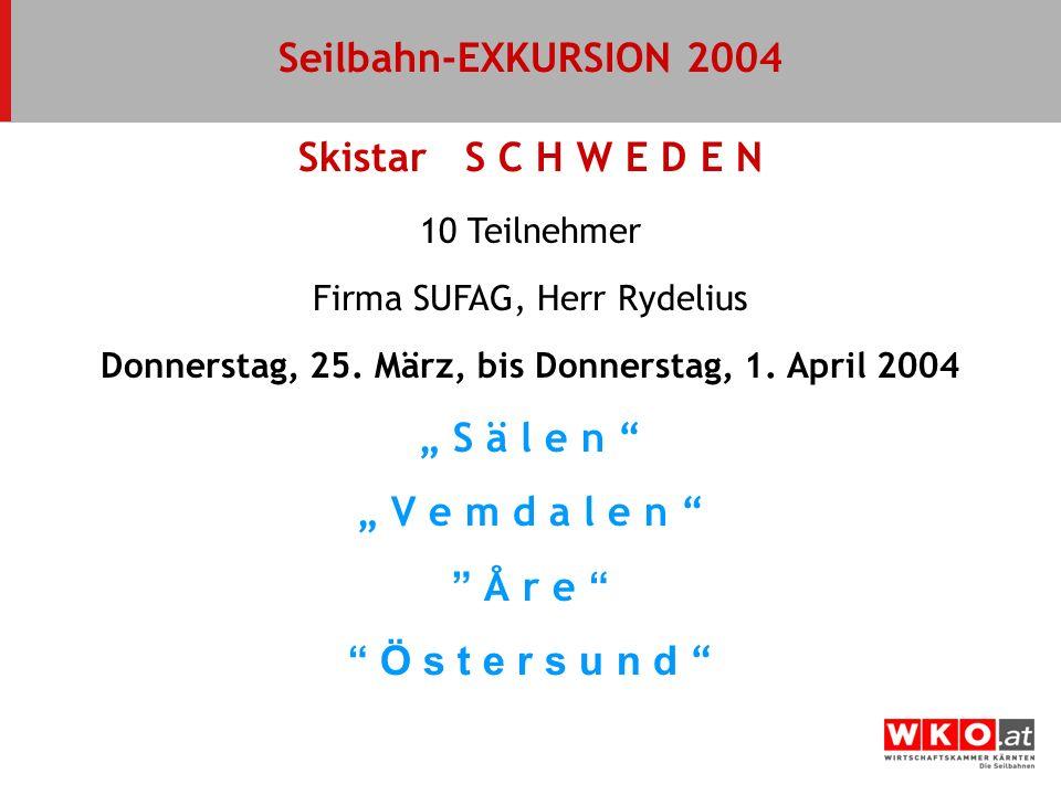 10 Teilnehmer Firma SUFAG, Herr Rydelius Donnerstag, 25. März, bis Donnerstag, 1. April 2004 Seilbahn-EXKURSION 2004 Skistar S C H W E D E N S ä l e n