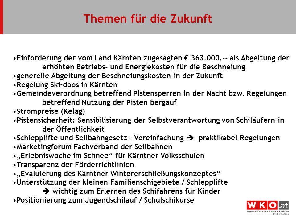 Themen für die Zukunft Einforderung der vom Land Kärnten zugesagten 363.000,-- als Abgeltung der erhöhten Betriebs- und Energiekosten für die Beschnei