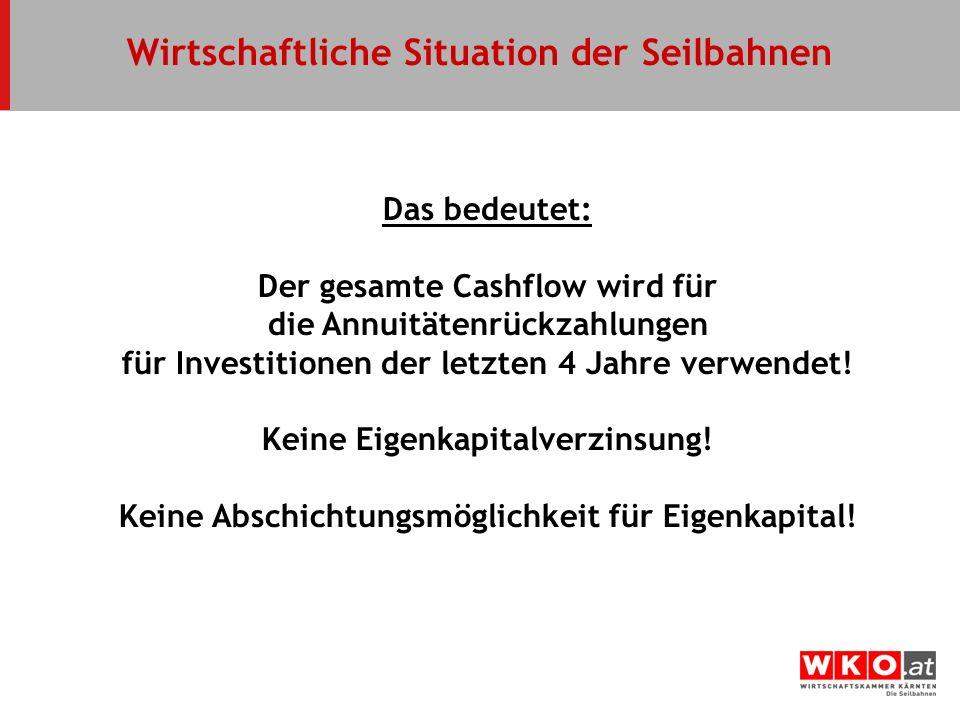 Wirtschaftliche Situation der Seilbahnen Das bedeutet: Der gesamte Cashflow wird für die Annuitätenrückzahlungen für Investitionen der letzten 4 Jahre