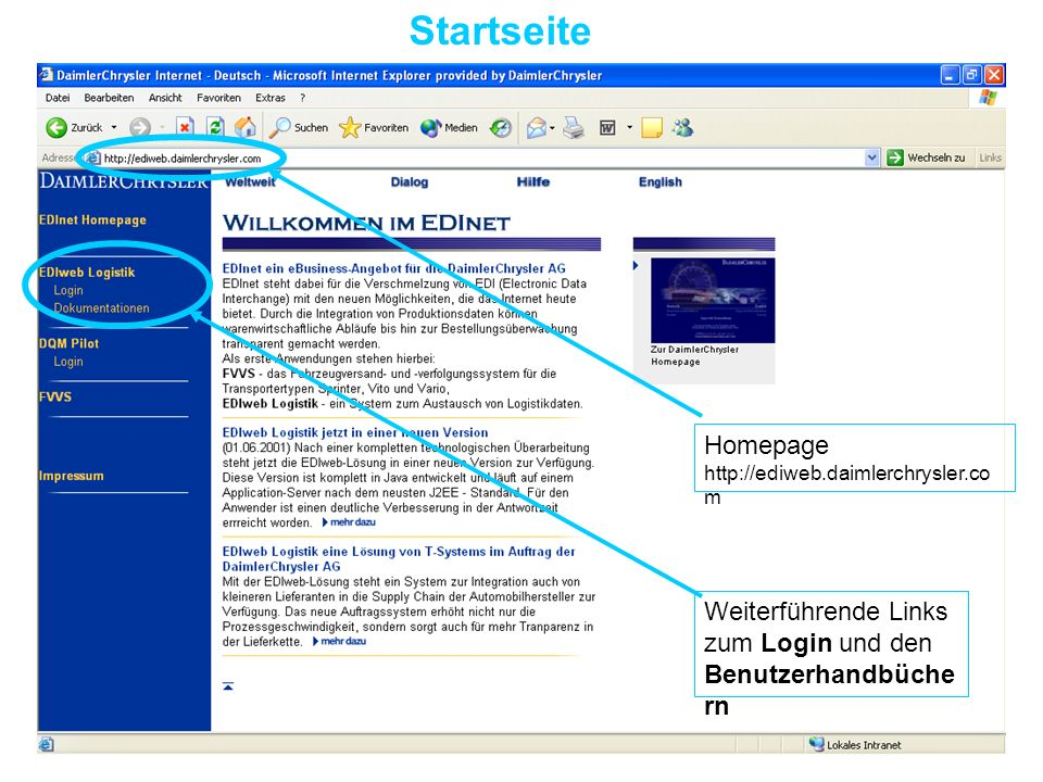 Startseite Weiterführende Links zum Login und den Benutzerhandbüche rn Homepage http://ediweb.daimlerchrysler.co m