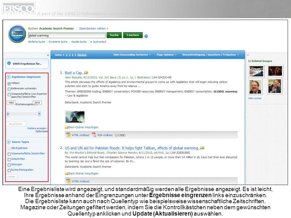 Wenn Sie auf den Titellink eines Artikels klicken, können Sie in der Detailansicht einzelne Ergebnisse drucken, per E-Mail senden, speichern, zitieren oder exportieren.