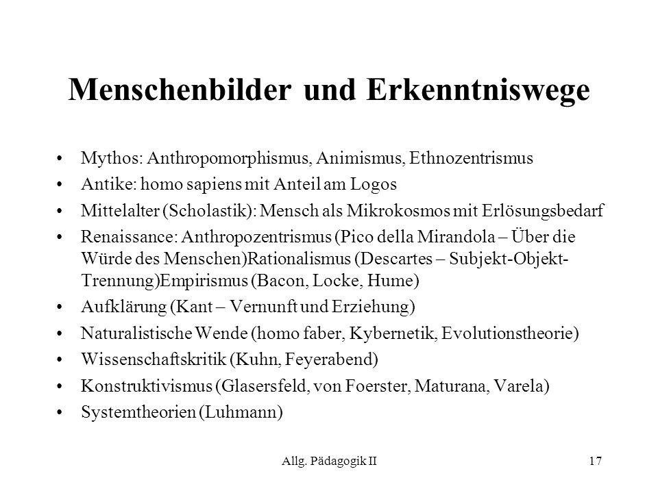 Allg. Pädagogik II17 Mythos: Anthropomorphismus, Animismus, Ethnozentrismus Antike: homo sapiens mit Anteil am Logos Mittelalter (Scholastik): Mensch
