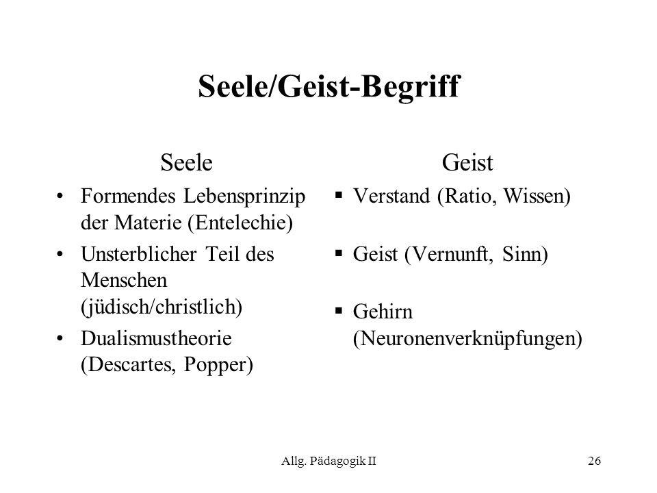 Allg. Pädagogik II26 Seele/Geist-Begriff Seele Formendes Lebensprinzip der Materie (Entelechie) Unsterblicher Teil des Menschen (jüdisch/christlich) D