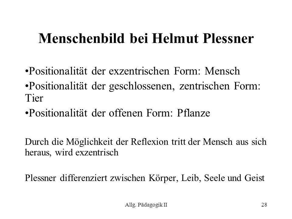 Allg. Pädagogik II28 Menschenbild bei Helmut Plessner Positionalität der exzentrischen Form: Mensch Positionalität der geschlossenen, zentrischen Form