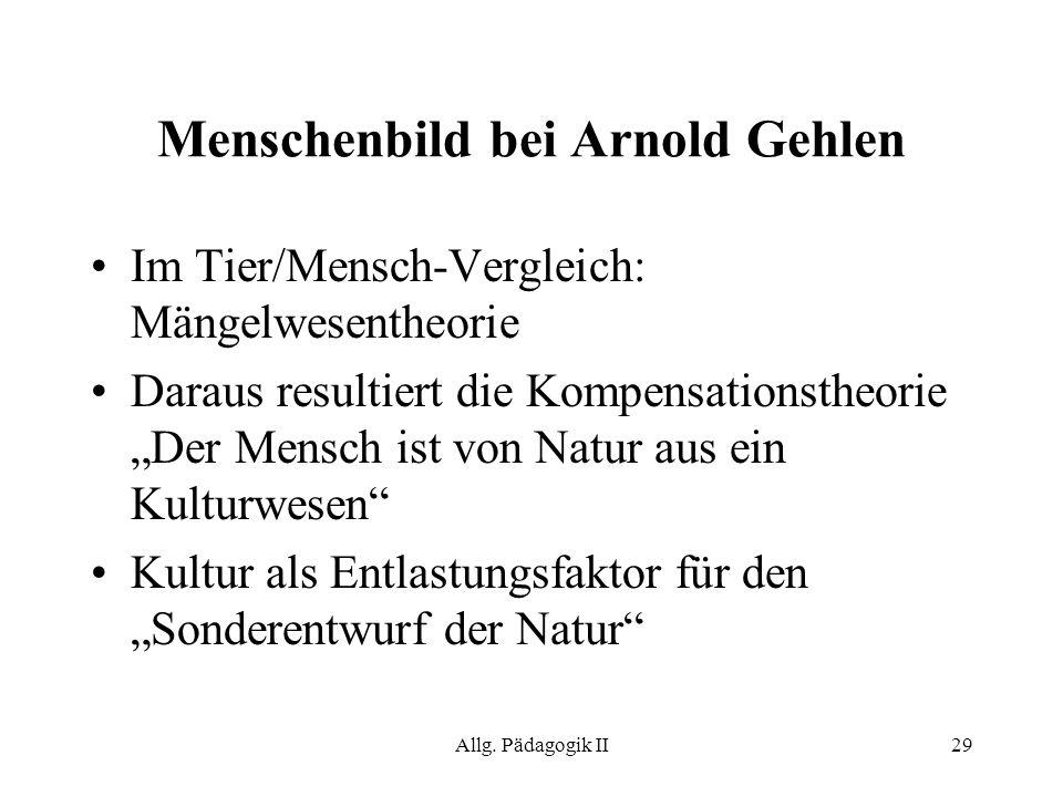 Allg. Pädagogik II29 Menschenbild bei Arnold Gehlen Im Tier/Mensch-Vergleich: Mängelwesentheorie Daraus resultiert die Kompensationstheorie Der Mensch