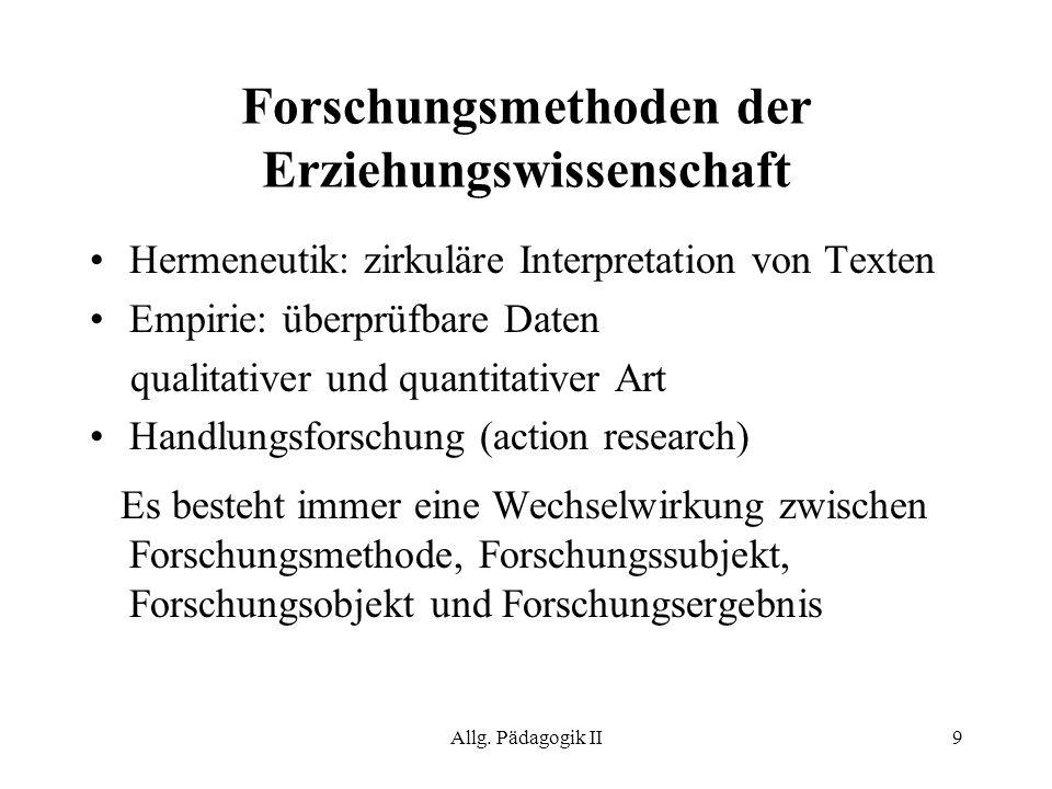 Allg. Pädagogik II9 Forschungsmethoden der Erziehungswissenschaft Hermeneutik: zirkuläre Interpretation von Texten Empirie: überprüfbare Daten qualita