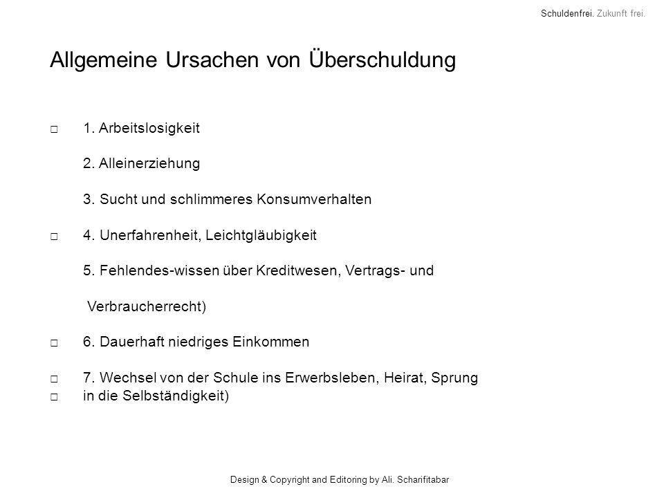 Schuldenfrei. Zukunft frei. Allgemeine Ursachen von Überschuldung 1. Arbeitslosigkeit 2. Alleinerziehung 3. Sucht und schlimmeres Konsumverhalten 4. U