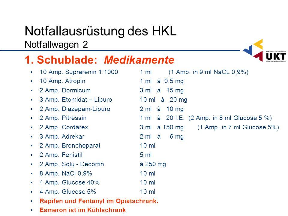 Notfallausrüstung des HKL Notfallwagen 2 1.Schublade: Medikamente 10 Amp.