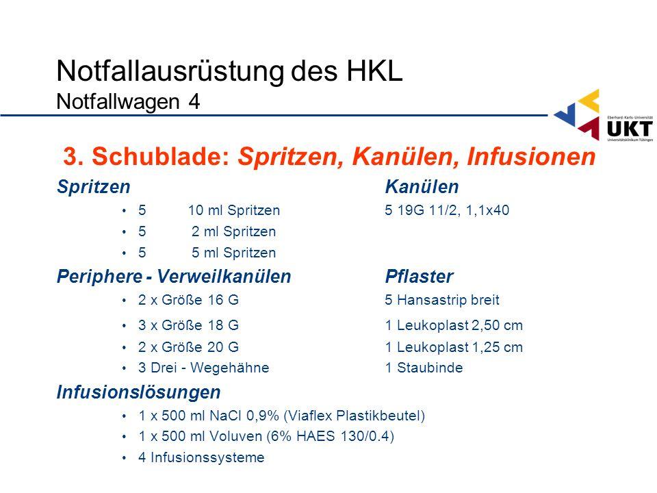 Notfallausrüstung des HKL Notfallwagen 4 3.