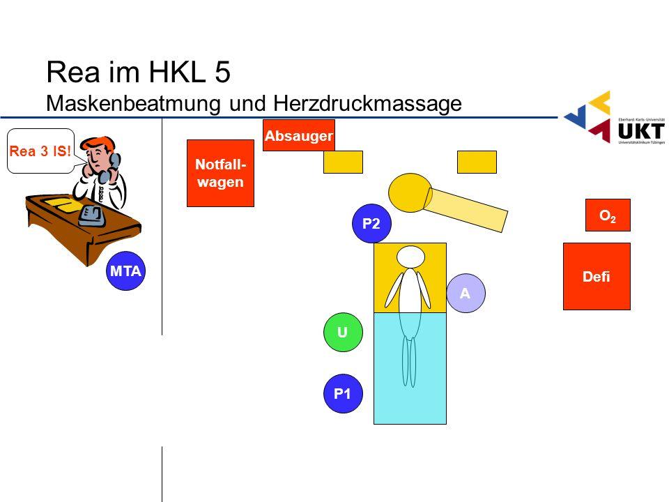 Rea im HKL 5 Maskenbeatmung und Herzdruckmassage Defi Notfall- wagen O2O2 U P1 P2 MTA A Rea 3 IS.