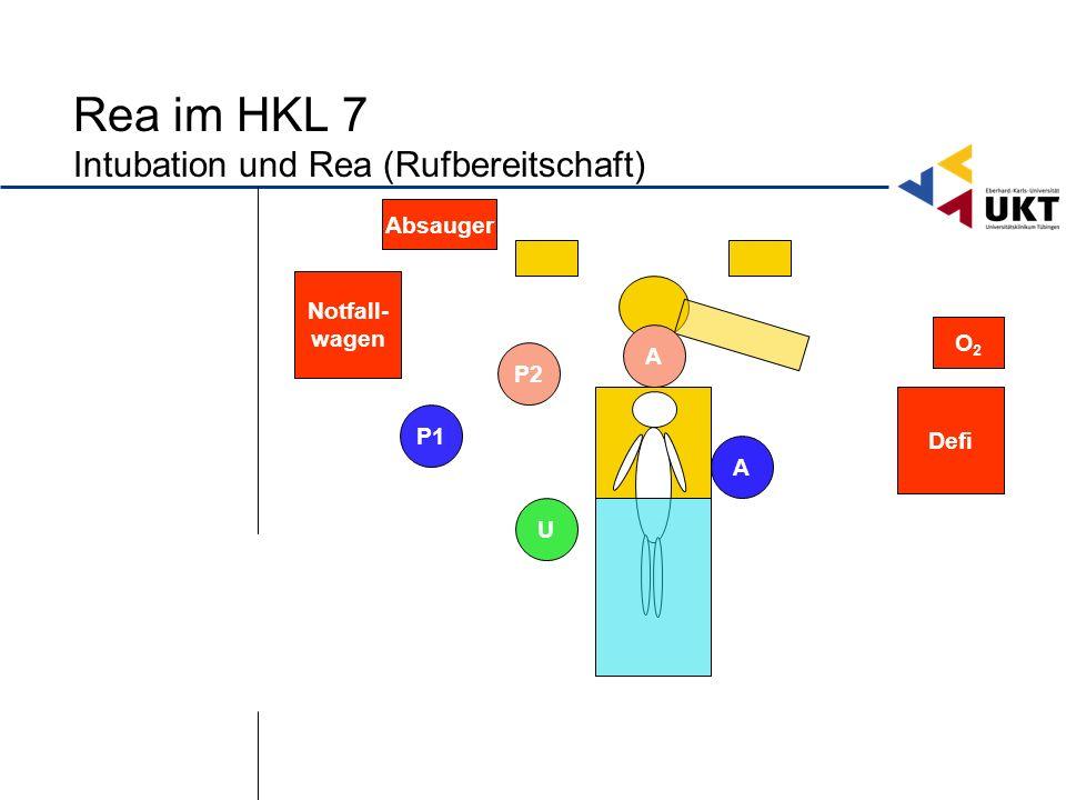 Rea im HKL 7 Intubation und Rea (Rufbereitschaft) Defi Notfall- wagen O2O2 U P1 P2 A A Absauger