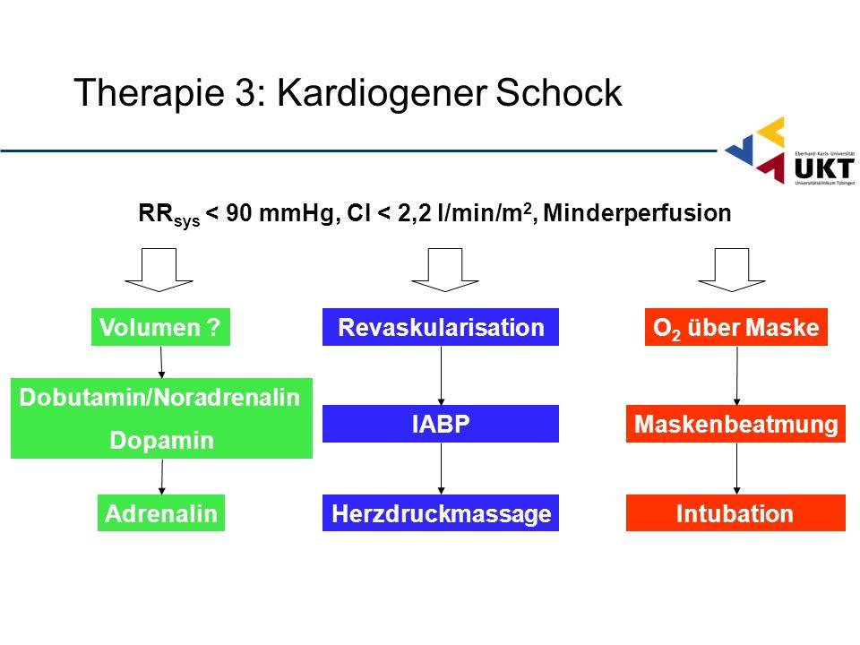 Therapie 3: Kardiogener Schock RevaskularisationO 2 über MaskeVolumen .