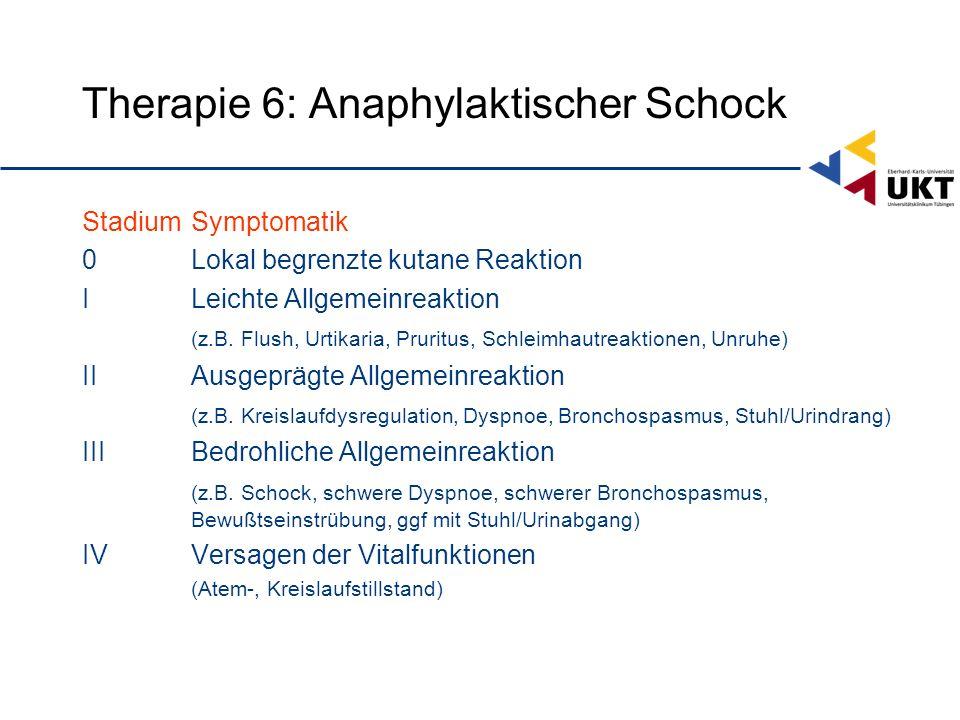 Therapie 6: Anaphylaktischer Schock StadiumSymptomatik 0Lokal begrenzte kutane Reaktion ILeichte Allgemeinreaktion (z.B.