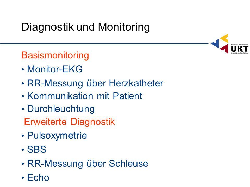 Diagnostik und Monitoring Basismonitoring Monitor-EKG RR-Messung über Herzkatheter Kommunikation mit Patient Durchleuchtung Erweiterte Diagnostik Pulsoxymetrie SBS RR-Messung über Schleuse Echo