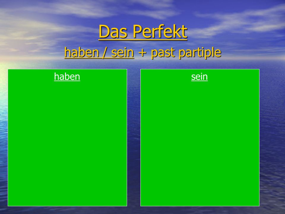 Das Perfekt haben / sein + past partiple habensein