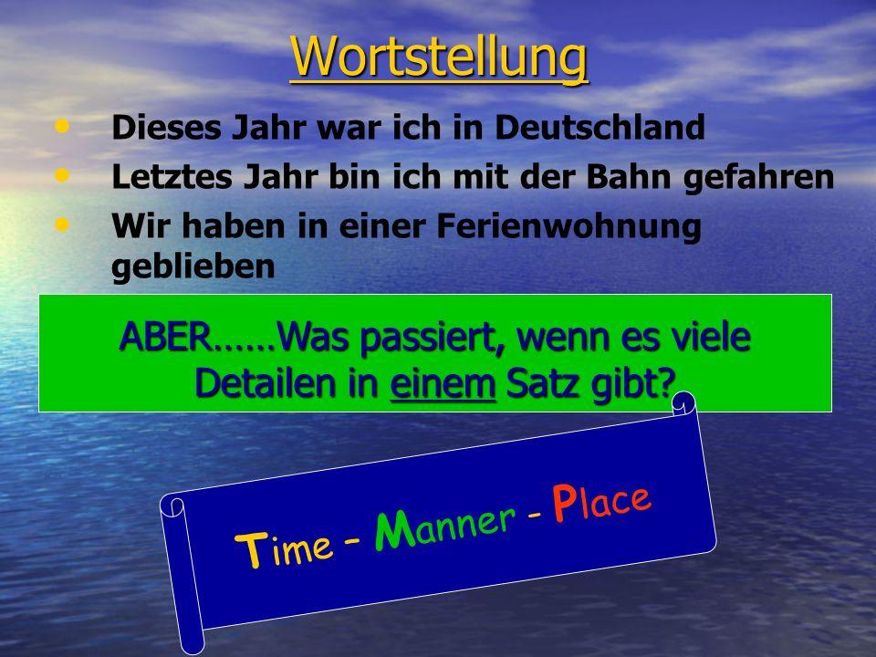 Wortstellung Dieses Jahr war ich in Deutschland Letztes Jahr bin ich mit der Bahn gefahren Wir haben in einer Ferienwohnung geblieben ABER……Was passiert, wenn es viele Detailen in einem Satz gibt.