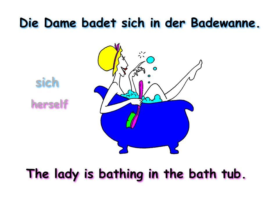 Die Dame badet sich in der Badewanne. The lady is bathing in the bath tub. herself sich
