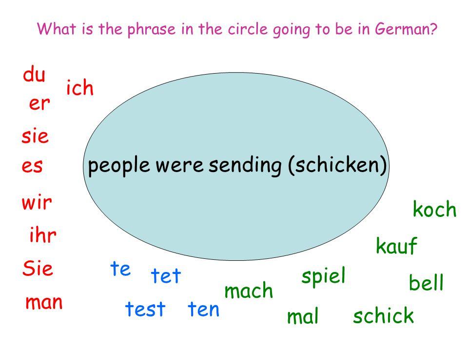 people were sending (schicken) ich du er sie es wir man Sie ihr spiel mal mach tentest tet te koch bell kauf schick What is the phrase in the circle going to be in German?