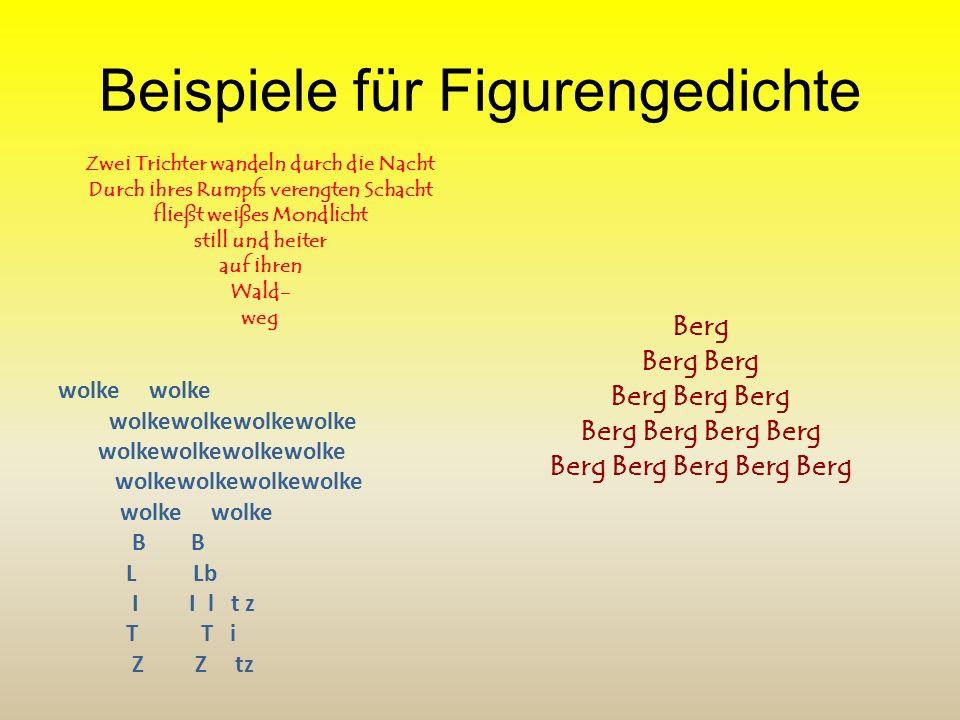 Das Figurengedicht ist ein Gedicht, das nicht nur als Text funktioniert, sondern auch noch optisch eine weitere Bedeutungsebene aufbaut, zum Beispiel
