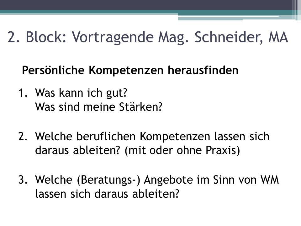 2. Block: Vortragende Mag. Schneider, MA Persönliche Kompetenzen herausfinden 1.Was kann ich gut? Was sind meine Stärken? 2.Welche beruflichen Kompete