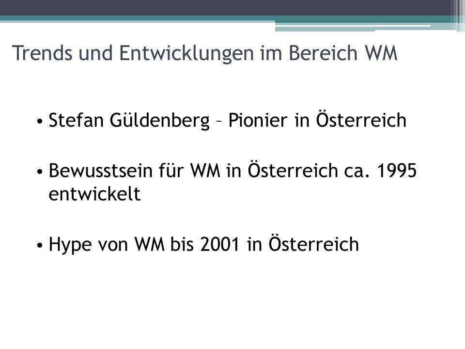 Trends und Entwicklungen im Bereich WM Stefan Güldenberg – Pionier in Österreich Bewusstsein für WM in Österreich ca. 1995 entwickelt Hype von WM bis