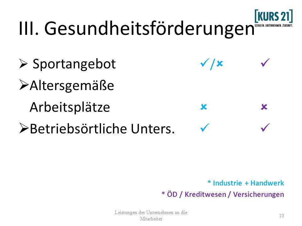 III. Gesundheitsförderungen Sportangebot / Altersgemäße Arbeitsplätze Betriebsörtliche Unters. * Industrie + Handwerk * ÖD / Kreditwesen / Versicherun