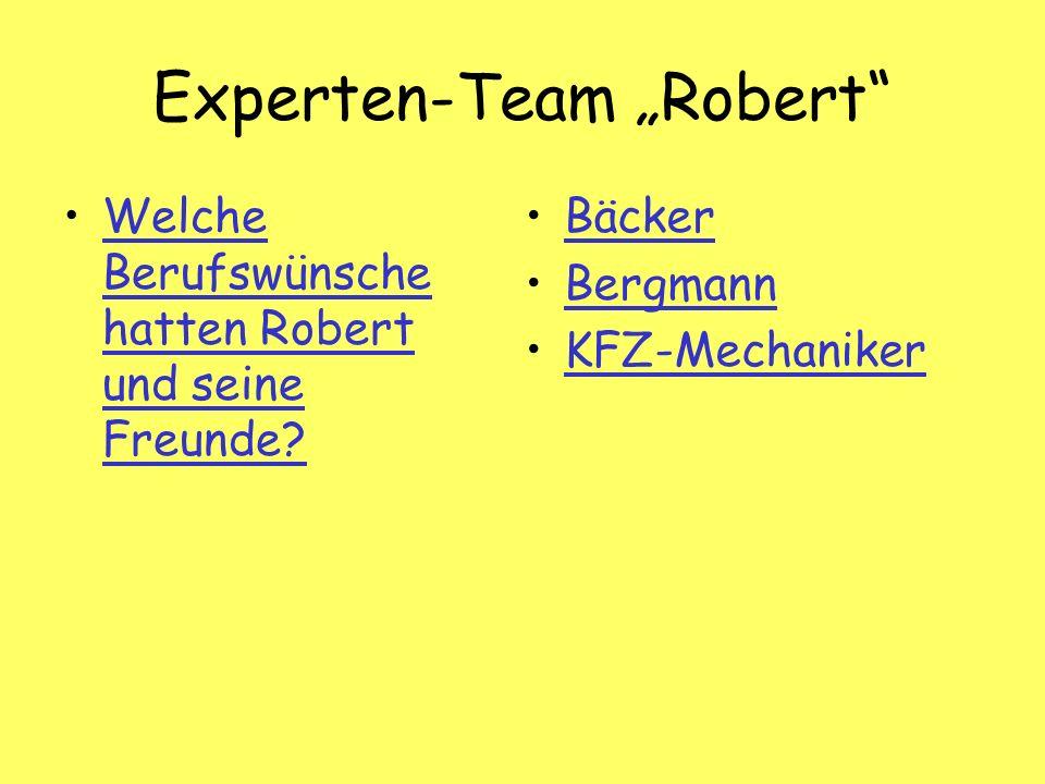 Experten-Team Robert Welche Berufswünsche hatten Robert und seine Freunde Welche Berufswünsche hatten Robert und seine Freunde.