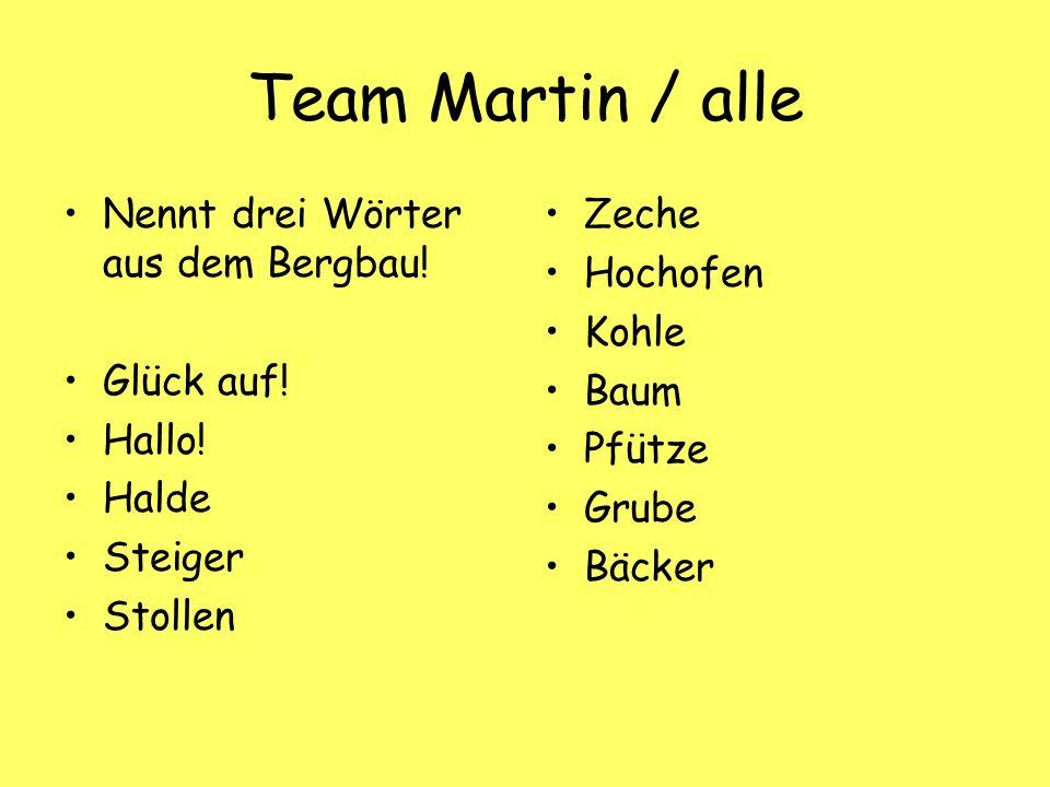 Team Martin / alle Nennt drei Wörter aus dem Bergbau.