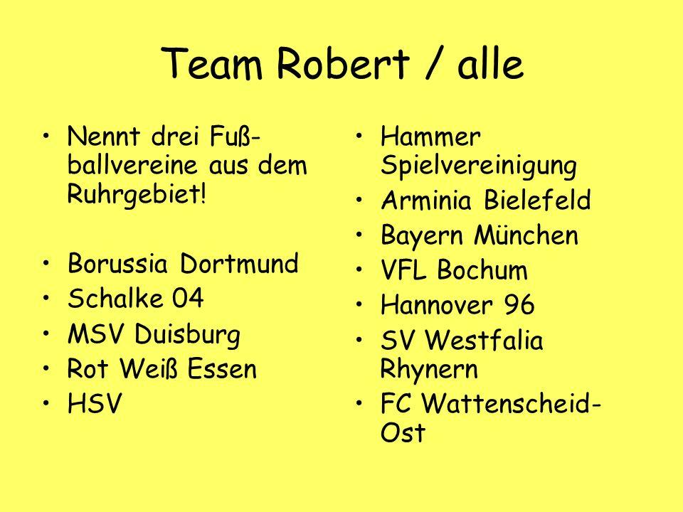 Team Robert / alle Nennt drei Fuß- ballvereine aus dem Ruhrgebiet.