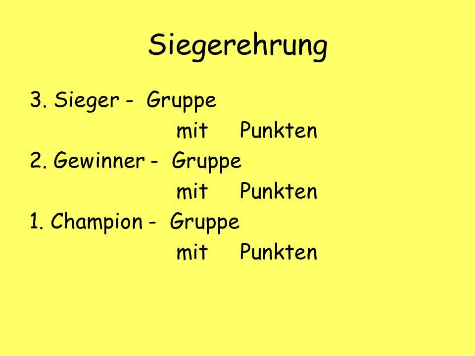 Siegerehrung 3. Sieger - Gruppe mit Punkten 2. Gewinner - Gruppe mit Punkten 1.