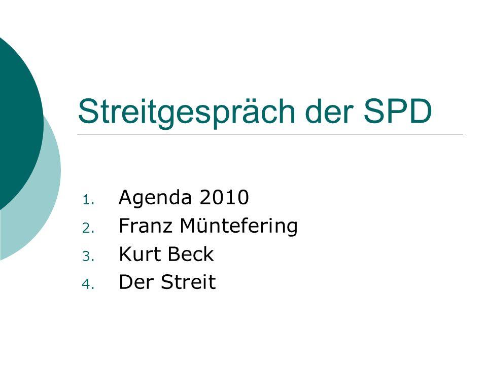 Streitgespräch der SPD 1. Agenda 2010 2. Franz Müntefering 3. Kurt Beck 4. Der Streit