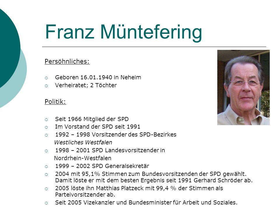 Franz Müntefering Persöhnliches: Geboren 16.01.1940 in Neheim Verheiratet; 2 Töchter Politik: Seit 1966 Mitglied der SPD Im Vorstand der SPD seit 1991