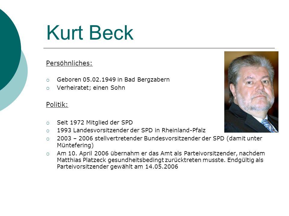 Kurt Beck Persöhnliches: Geboren 05.02.1949 in Bad Bergzabern Verheiratet; einen Sohn Politik: Seit 1972 Mitglied der SPD 1993 Landesvorsitzender der
