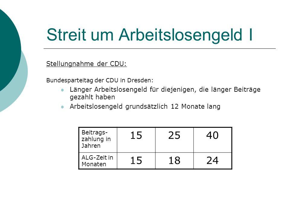 Streit um Arbeitslosengeld I Stellungnahme der CDU: Bundesparteitag der CDU in Dresden: Länger Arbeitslosengeld für diejenigen, die länger Beiträge ge