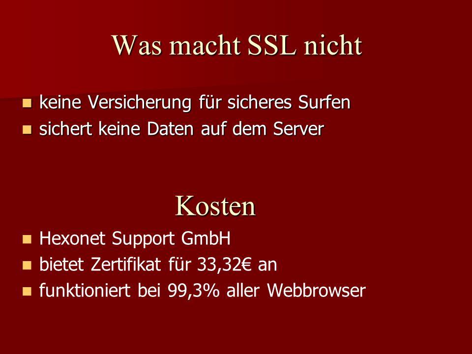 Was macht SSL nicht keine Versicherung für sicheres Surfen keine Versicherung für sicheres Surfen sichert keine Daten auf dem Server sichert keine Dat
