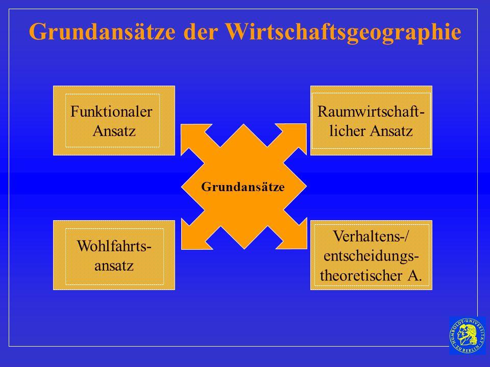 Funktionaler Ansatz Grundansätze der Wirtschaftsgeographie Wohlfahrts- ansatz Verhaltens-/ entscheidungs- theoretischer A.