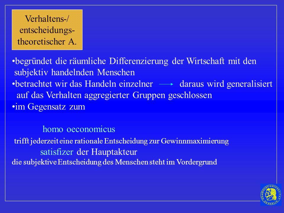 Verhaltens-/ entscheidungs- theoretischer A.