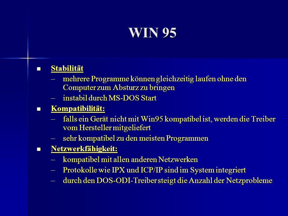 WIN 95 Stabilität Stabilität –mehrere Programme können gleichzeitig laufen ohne den Computer zum Absturz zu bringen –instabil durch MS-DOS Start Kompa