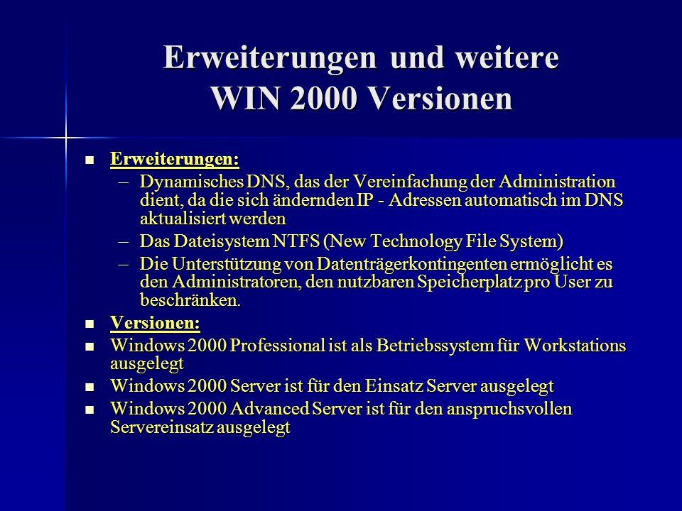 Erweiterungen und weitere WIN 2000 Versionen Erweiterungen: Erweiterungen: –Dynamisches DNS, das der Vereinfachung der Administration dient, da die si