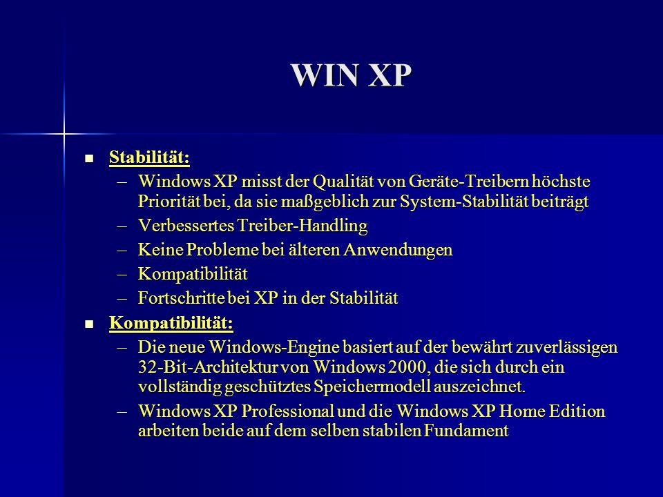 WIN XP Stabilität: Stabilität: –Windows XP misst der Qualität von Geräte-Treibern höchste Priorität bei, da sie maßgeblich zur System-Stabilität beitr