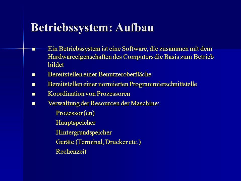 Betriebssystem: Aufbau Ein Betriebssystem ist eine Software, die zusammen mit dem Hardwareeigenschaften des Computers die Basis zum Betrieb bildet Ein